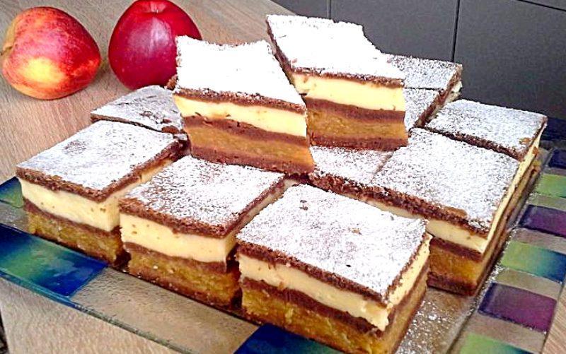 Обалденное яблочное пирожное с ванильным кремом