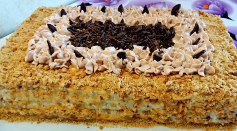 Быстрый ореховый торт со вкусным кремом