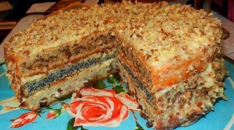 Популярный трехслойный домашний торт. Готовится просто